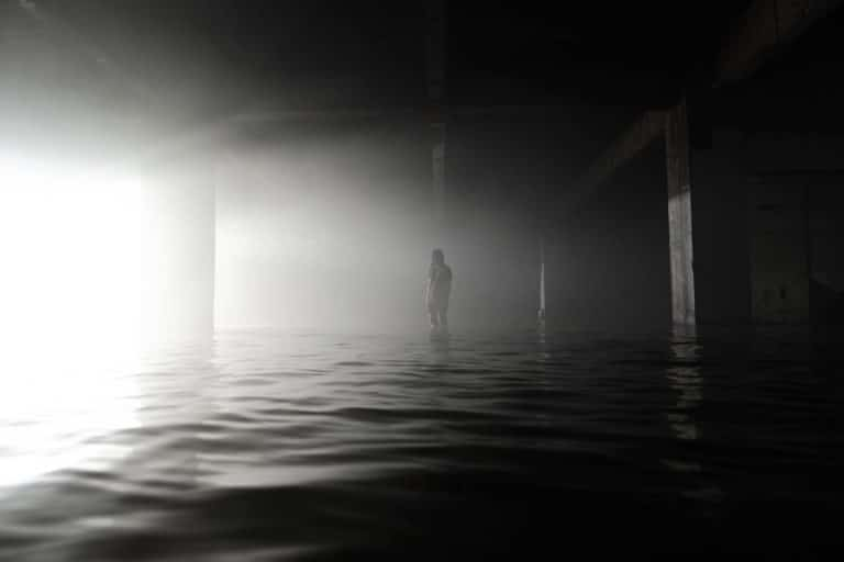 A man in a flooded hall